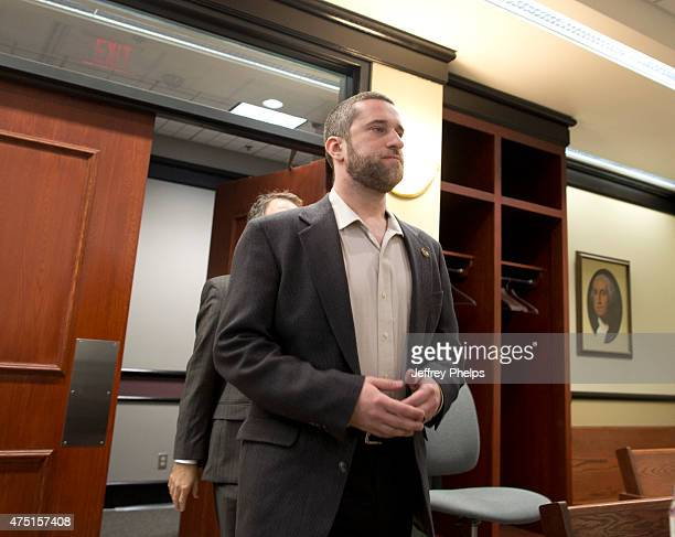 Dustin Diamond enters the courtroom during his trial in the Ozaukee County Courthouse May 29 2015 in Port Washington Wisconsin Diamond best known for...