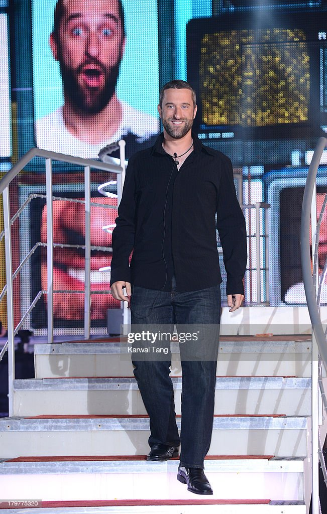 <a gi-track='captionPersonalityLinkClicked' href=/galleries/search?phrase=Dustin+Diamond&family=editorial&specificpeople=895493 ng-click='$event.stopPropagation()'>Dustin Diamond</a> gets evicted from the Celebrity Big Brother house at Elstree Studios on September 6, 2013 in Borehamwood, England.