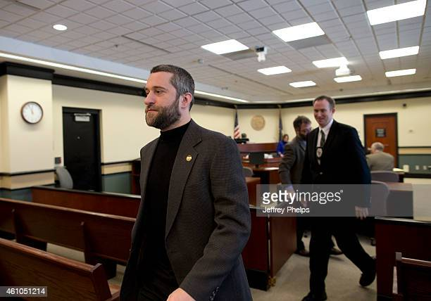 Dustin Diamond left leaves his preliminary hearing at Ozaukee County Courthouse on January 5 2015 in Port Washington Wisconsin Diamond best known for...