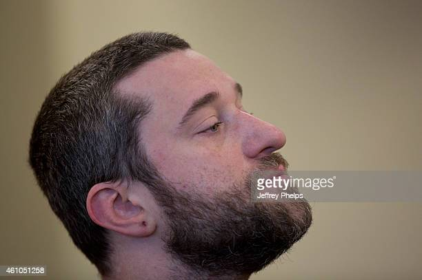 Dustin Diamond waits for his preliminary hearing at Ozaukee County Courthouse on January 5 2015 in Port Washington Wisconsin Diamond best known for...