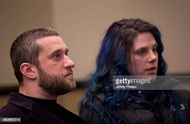 Dustin Diamond waits for his status hearing with Amanda Schutz at Ozaukee County Courthouse on December 29 2014 in Port Washington Wisconsin Diamond...