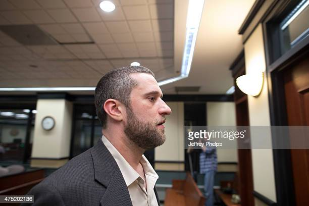 Dustin Diamond walks out of the coutroom after a split verdict in an Ozaukee County Courthouse May 29 2015 in Port Washington Wisconsin Diamond was...