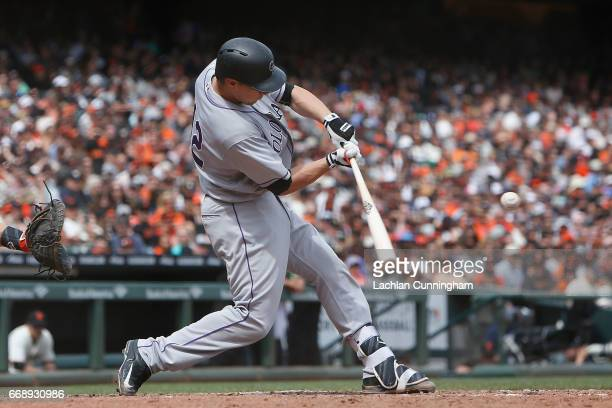 Dustin Garneau of the Colorado Rockies at bat in the fourth inning against the San Francisco Giants at ATT Park on April 15 2017 in San Francisco...