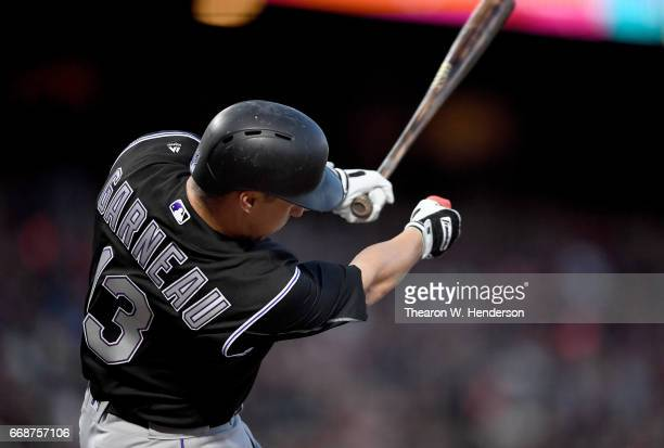 Dustin Garneau of the Colorado Rockies bats against the San Francisco Giants in the top of the second inning at ATT Park on April 13 2017 in San...