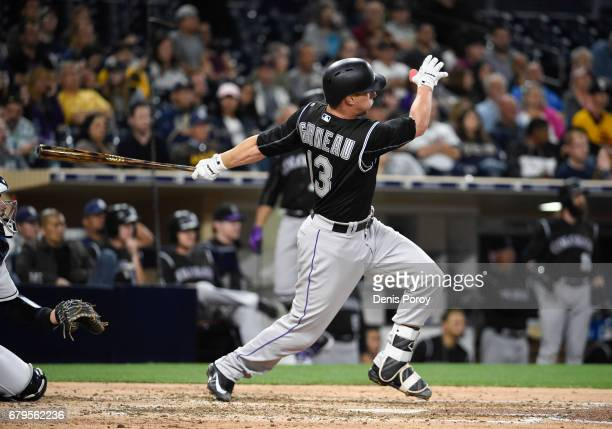 Dustin Garneau of the Colorado Rockies plays during a baseball game against the San Diego Padres at PETCO Park on May 3 2017 in San Diego California
