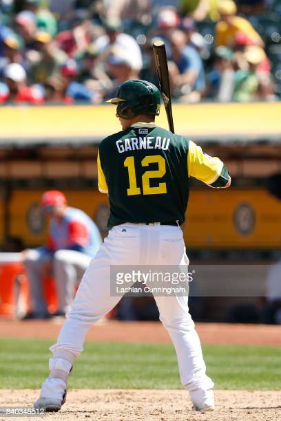 Dustin Garneau of the Oakland Athletics at bat in the fourth inning against the Texas Rangers at Oakland Alameda Coliseum on August 26 2017 in...