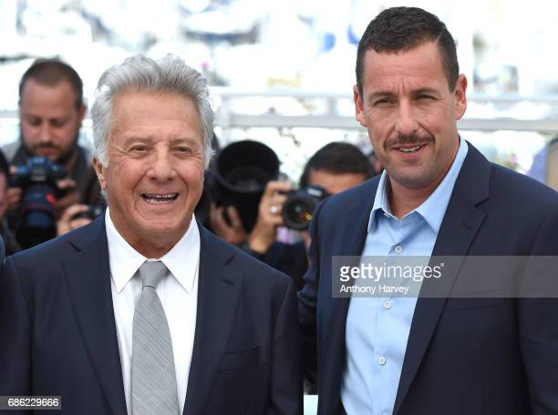 Dustin Hoffman and Adam Sandler attend the 'The Meyerowitz Stories' Photocall during the 70th annual Cannes Film Festival at Palais des Festivals on...