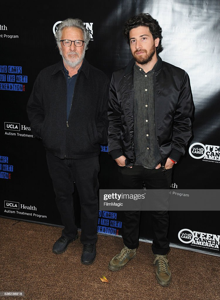Dustin Hoffman and Jake Hoffman attend WHO Cares About The Next Generation at a private residence on May 31, 2016 in Pacific Palisades, California.