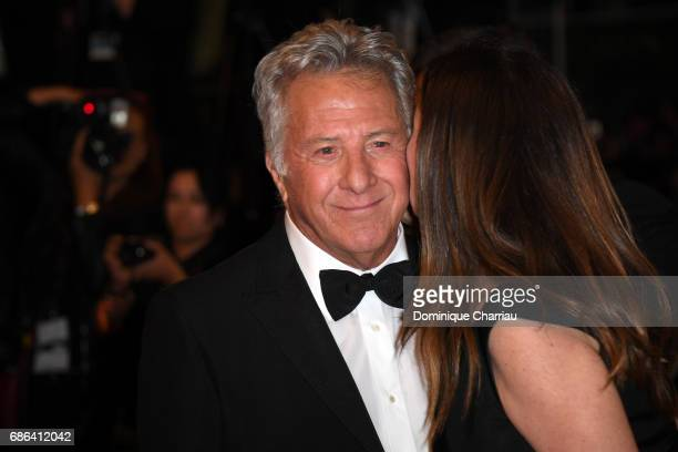 Dustin Hoffman and Lisa Hoffman depart the 'The Meyerowitz Stories' screening during the 70th annual Cannes Film Festival at Palais des Festivals on...