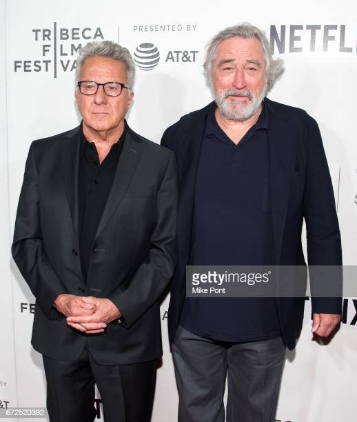 Dustin Hoffman and Robert De Niro attend Tribeca Talks Director's Series Noah Baumbach during the 2017 Tribeca Film Festival at BMCC Tribeca PAC on...