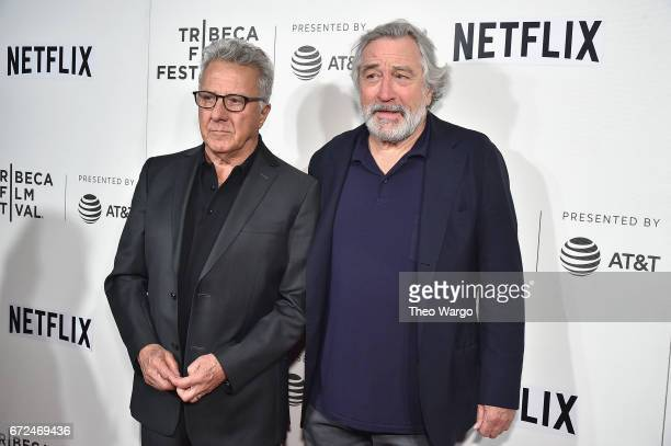 Dustin Hoffman and Robert De Niro attend Tribeca Talks Noah Baumbach at BMCC Tribeca PAC on April 24 2017 in New York City