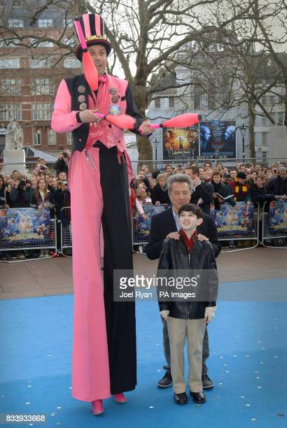 Dustin Hoffman and Zachary Mills arriving for the UK film premiere of Mr Magorium's Wonder Emporium at the Empire cinema in Leicester Square London