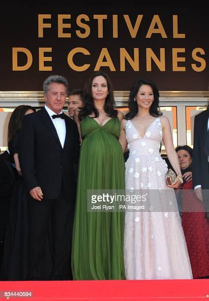 Dustin Hoffman Angelina Jolie and Lucy Liu arrive for the screening of 'Kung Fu Panda' during the 61st Cannes Film Festival in Cannes France