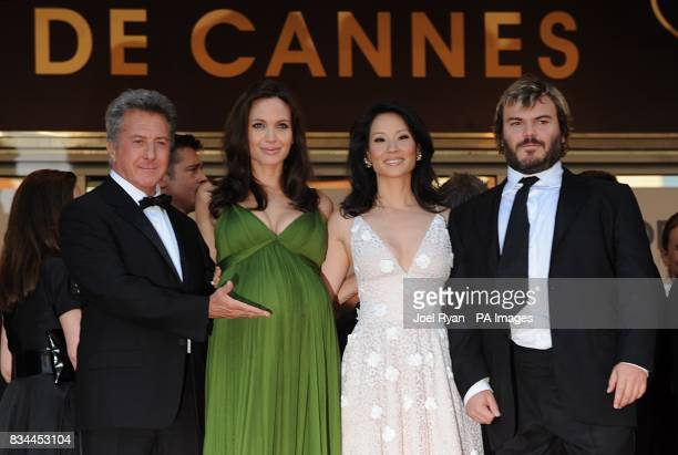 Dustin Hoffman Angelina Jolie Lucy Liu and Jack Black arrive for the screening of 'Kung Fu Panda' during the 61st Cannes Film Festival in Cannes...