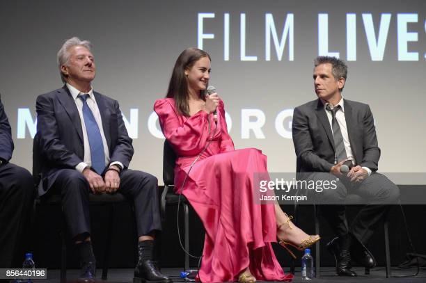 Dustin Hoffman Grace Van Patten and Ben Stiller speak onstage during the New York Film Festival screening of The Meyerowitz Stories at Alice Tully...