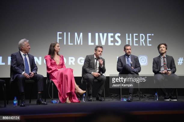 Dustin Hoffman Grace Van Patten Ben Stiller Adam Sandler and Noah Baumbach speak onstage during the New York Film Festival screening of The...