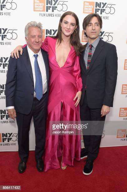 Dustin Hoffman Grace Van Patten director Noah Baumbach attend the New York Film Festival screening of The Meyerowitz Stories at Alice Tully Hall on...