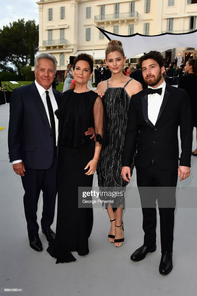 Dustin Hoffman, Lisa Hoffman, Jenna Kelly, and Jake Hoffman arrive at the amfAR Gala Cannes 2017 at Hotel du Cap-Eden-Roc on May 25, 2017 in Cap d'Antibes, France.