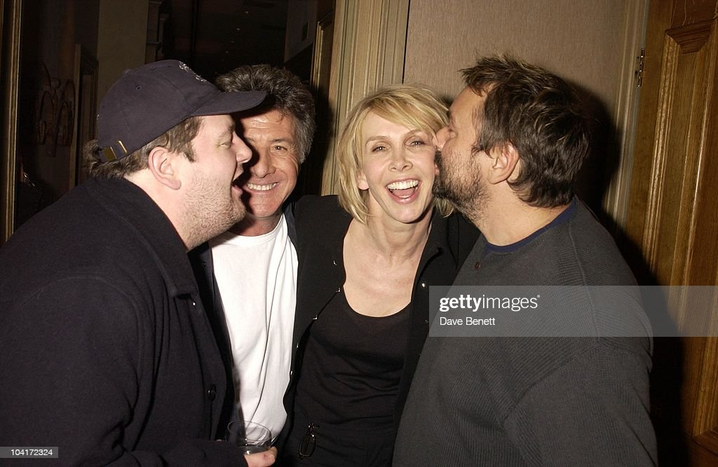 Dustin Hoffman With Trudie Styler With Luc Besson And Johnny Vegas, American Actor Dustin Hoffman At The Charlotte Street Hotel.for The Screening Of His New Movie Ômoonlight Mile'