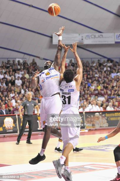 Dustin Hogue and Shavon Shields of Dolomiti in action during the match game 2 of play off final series of LBA Legabasket of Serie A1 between...