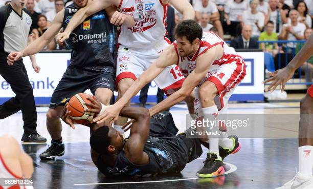 Dustin Hogue of Dolomiti Energia Trentino battles for the ball with Davide Pascolo of EA7 Emporio Armani Milano during LegaBasket Serie A Playoffs...