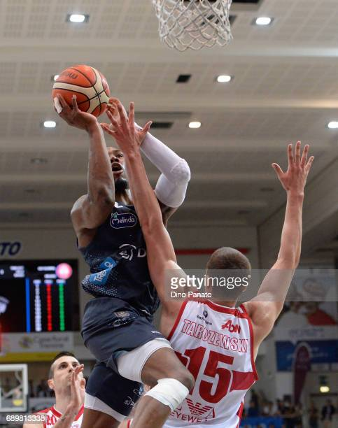 Dustin Hogue of Dolomiti Energia Trentino competes with Kaleb Tarczewski of EA7 Emporio Armani Milano during LegaBasket Serie A Playoffs match 3...