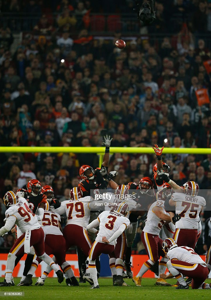 Dustin Hopkins #3 of the Washington Redskins misses a field goal to win the game in overtime during the NFL International Series game against the Cincinnati Bengals at Wembley Stadium on October 30, 2016 in London, England.