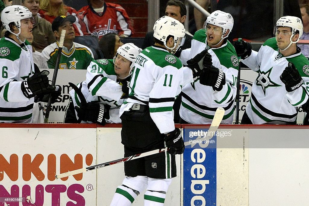 Dustin Jeffrey #11 of the Dallas Stars celebrates with teammates after scoring a goal against the Washington Capitals in the second period during an NHL game at Verizon Center on April 1, 2014 in Washington, DC.