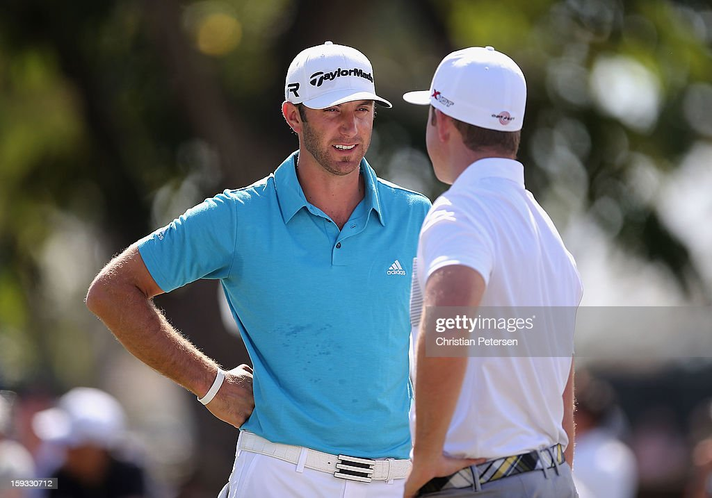 <a gi-track='captionPersonalityLinkClicked' href=/galleries/search?phrase=Dustin+Johnson&family=editorial&specificpeople=3908453 ng-click='$event.stopPropagation()'>Dustin Johnson</a> and Luke List talk on the practice putting green before the second round of the Sony Open in Hawaii at Waialae Country Club on January 11, 2013 in Honolulu, Hawaii.