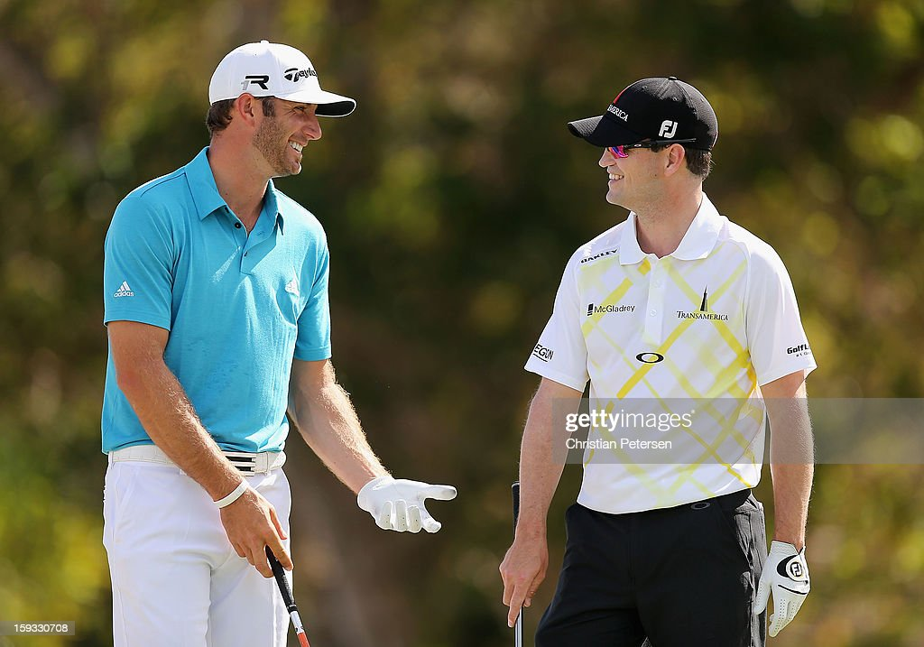 <a gi-track='captionPersonalityLinkClicked' href=/galleries/search?phrase=Dustin+Johnson&family=editorial&specificpeople=3908453 ng-click='$event.stopPropagation()'>Dustin Johnson</a> and <a gi-track='captionPersonalityLinkClicked' href=/galleries/search?phrase=Zach+Johnson+-+Golfer&family=editorial&specificpeople=217976 ng-click='$event.stopPropagation()'>Zach Johnson</a> talk before the second round of the Sony Open in Hawaii at Waialae Country Club on January 11, 2013 in Honolulu, Hawaii.