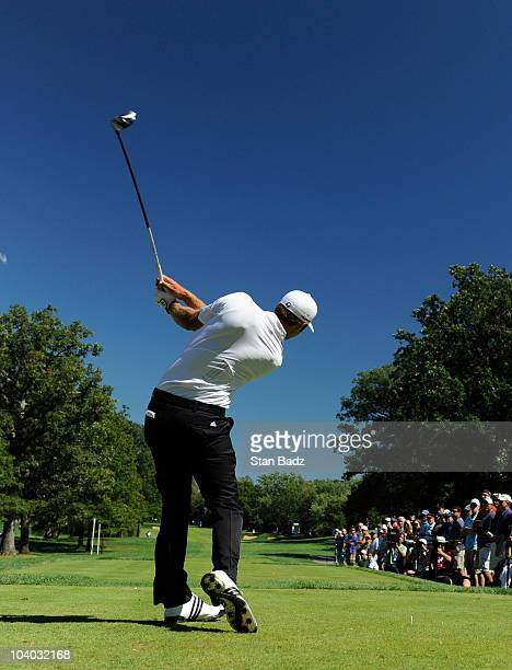 Dustin Johnson hits a drive from the third tee box during the final round of the BMW Championship at Cog Hill Golf Country Club on September 12 2010...