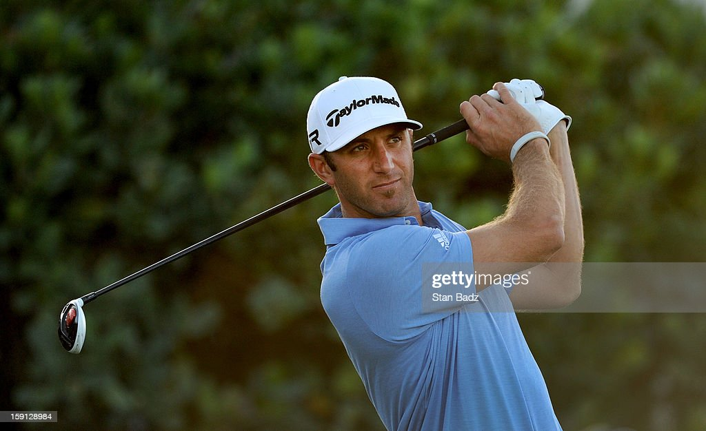 Dustin Johnson hits a drive on the first hole during the final round of the Hyundai Tournament of Champions at Plantation Course at Kapalua on January 8, 2013 in Kapalua, Maui, Hawaii.