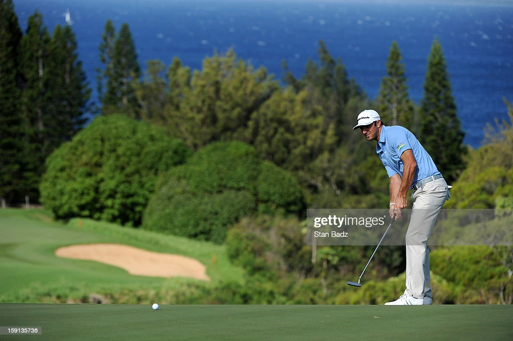 Dustin Johnson hits a putt on the 13th green during the final round of the Hyundai Tournament of Champions at Plantation Course at Kapalua on January 8, 2013 in Kapalua, Maui, Hawaii.