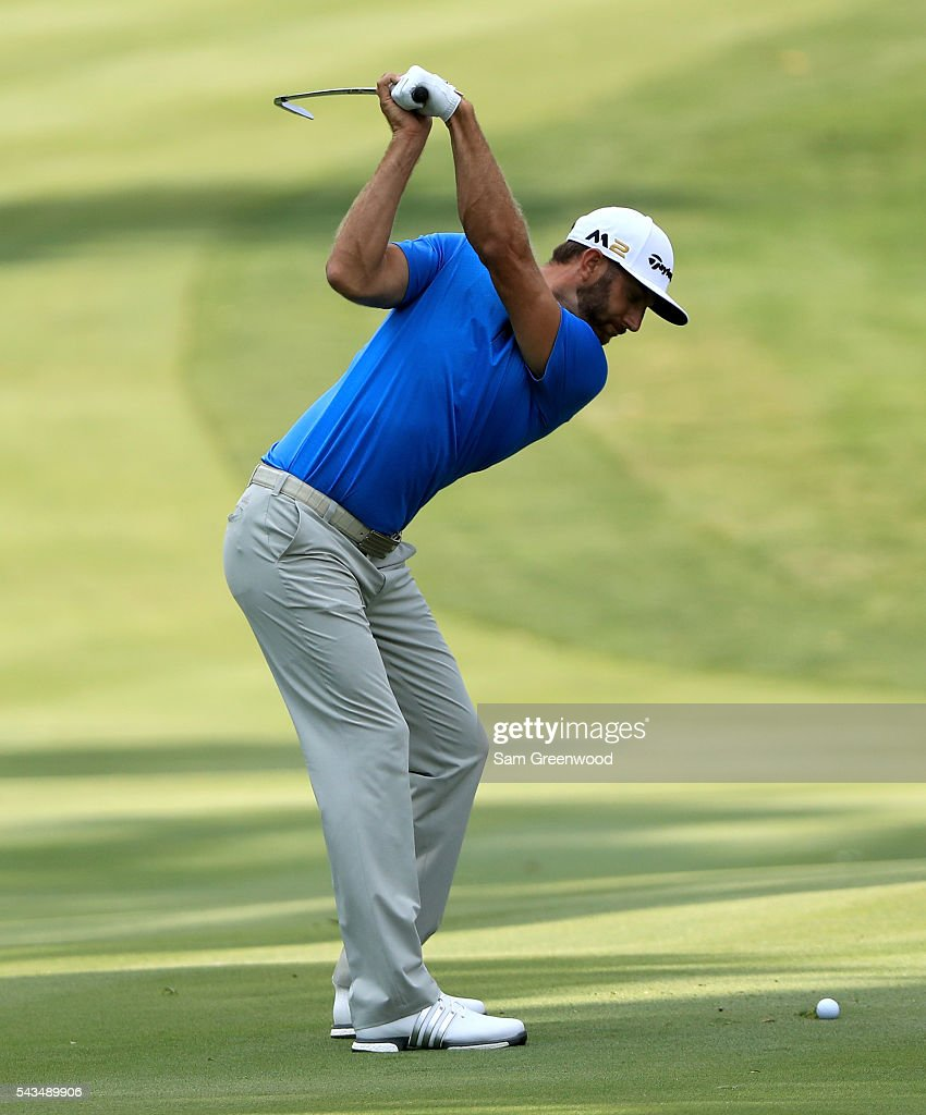 <a gi-track='captionPersonalityLinkClicked' href=/galleries/search?phrase=Dustin+Johnson&family=editorial&specificpeople=3908453 ng-click='$event.stopPropagation()'>Dustin Johnson</a> hits a shot during a practice round prior to the World Golf Championships-Bridgestone Invitational at Firestone Country Club South Course on June 28, 2016 in Akron, Ohio.