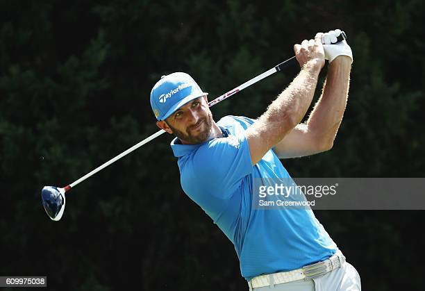 Dustin Johnson hits his tee shot on the eighth hole during the second round of the TOUR Championship at East Lake Golf Club on September 23 2016 in...