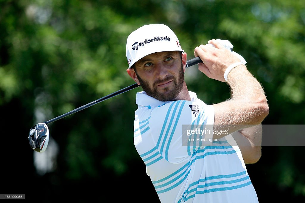 <a gi-track='captionPersonalityLinkClicked' href=/galleries/search?phrase=Dustin+Johnson&family=editorial&specificpeople=3908453 ng-click='$event.stopPropagation()'>Dustin Johnson</a> hits his tee shot on the fourth hole during the Final Round of the AT&T Byron Nelson at the TPC Four Seasons Resort Las Colinas on May 31, 2015 in Irving, Texas.