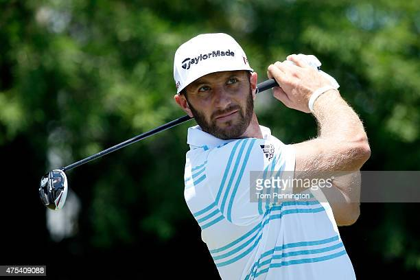 Dustin Johnson hits his tee shot on the fourth hole during the Final Round of the ATT Byron Nelson at the TPC Four Seasons Resort Las Colinas on May...
