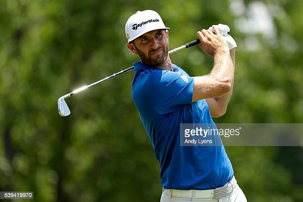 Dustin Johnson hits off the second tee during the third round of the FedEx St Jude Classic at TPC Southwind on June 11 2016 in Memphis Tennessee