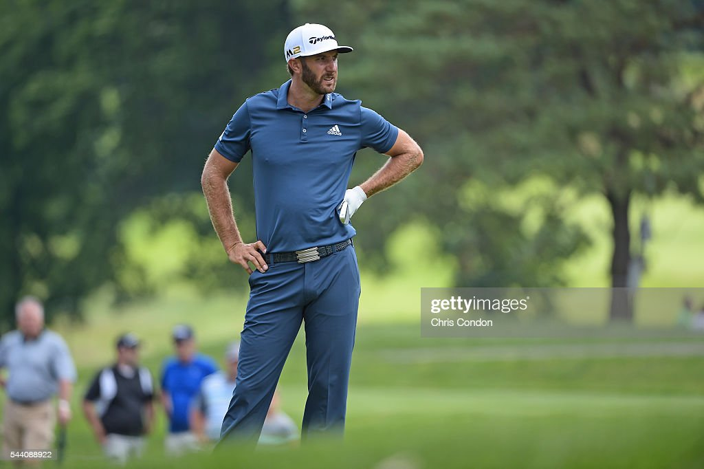 <a gi-track='captionPersonalityLinkClicked' href=/galleries/search?phrase=Dustin+Johnson&family=editorial&specificpeople=3908453 ng-click='$event.stopPropagation()'>Dustin Johnson</a> looks at his line on the second green during the second round of the World Golf Championships-Bridgestone Invitational at Firestone Country Club on July 1, 2016 in Akron, Ohio.