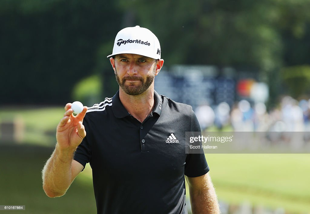 Dustin Johnson makes birdie on the 15th hole during the third round of the TOUR Championship at East Lake Golf Club on September 24, 2016 in Atlanta, Georgia.