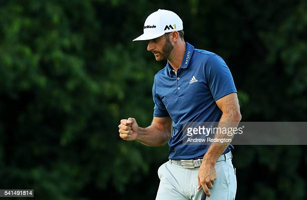 Dustin Johnson of the United States celebrates a par save on the 16th green during the final round of the US Open at Oakmont Country Club on June 19...