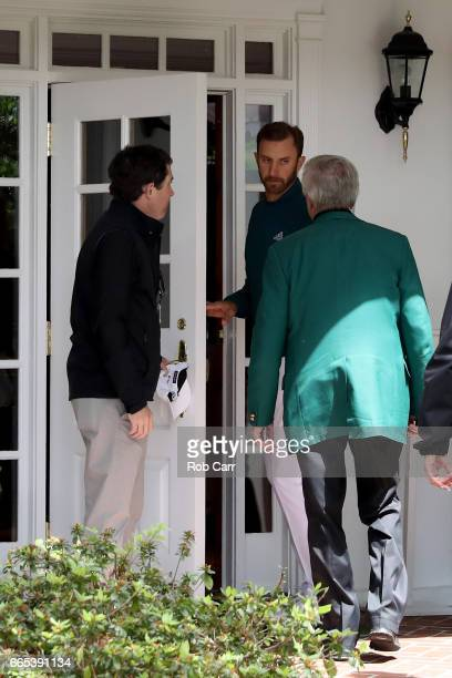 Dustin Johnson of the United States enters the clubhouse after announcing his withdrawl during the first round of the 2017 Masters Tournament at...