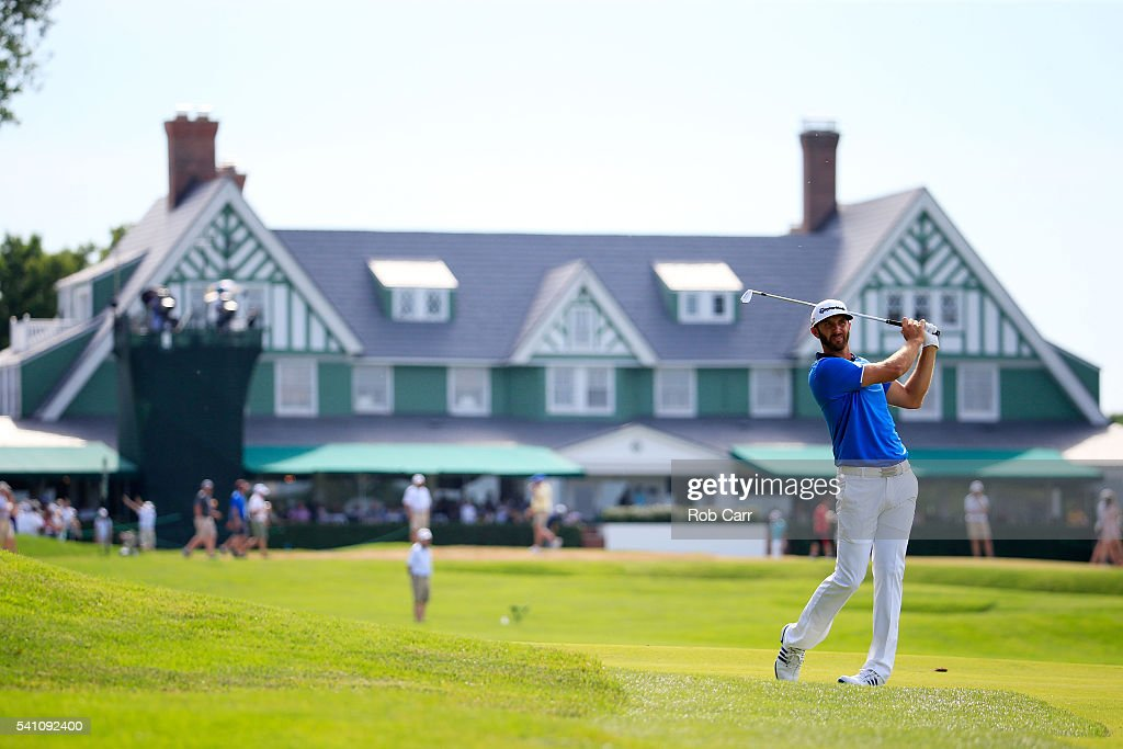 <a gi-track='captionPersonalityLinkClicked' href=/galleries/search?phrase=Dustin+Johnson&family=editorial&specificpeople=3908453 ng-click='$event.stopPropagation()'>Dustin Johnson</a> of the United States hits his second shot on the first hole during the third round of the U.S. Open at Oakmont Country Club on June 18, 2016 in Oakmont, Pennsylvania.