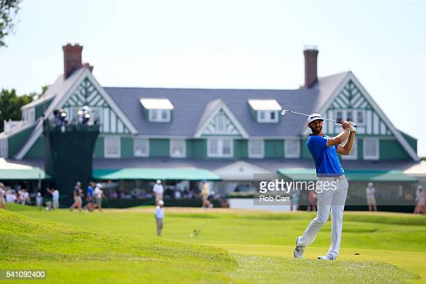 Dustin Johnson of the United States hits his second shot on the first hole during the third round of the US Open at Oakmont Country Club on June 18...
