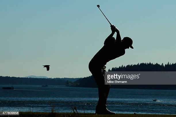 Dustin Johnson of the United States hits his tee shot on the 15th hole during the second round of the 115th US Open Championship at Chambers Bay on...