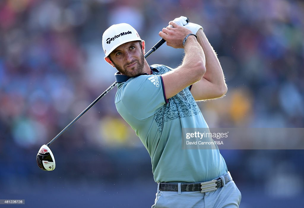 <a gi-track='captionPersonalityLinkClicked' href=/galleries/search?phrase=Dustin+Johnson&family=editorial&specificpeople=3908453 ng-click='$event.stopPropagation()'>Dustin Johnson</a> of the United States hits his tee shot on the 18th hole during the second round of the 144th Open Championship at The Old Course on July 18, 2015 in St Andrews, Scotland.
