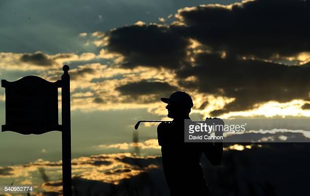 Dustin Johnson of the United States hits his tee shot on the eighth hole during the second round of the US Open at Oakmont Country Club on June 17...