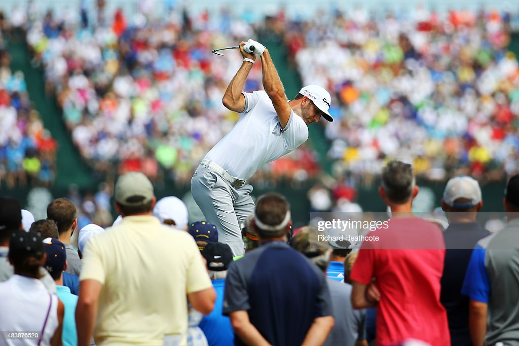 Dustin Johnson of the United States hits his tee shot on the sixth hole during the first round of the 2015 PGA Championship at Whistling Straits on August 13, 2015 in Sheboygan, Wisconsin.