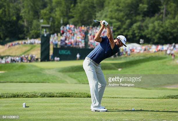 Dustin Johnson of the United States hits his tee shot on the sixth hole during the final round of the US Open at Oakmont Country Club on June 19 2016...