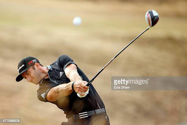 Dustin Johnson of the United States hits his tee shot on the tenth hole during the first round of the 115th US Open Championship at Chambers Bay on...